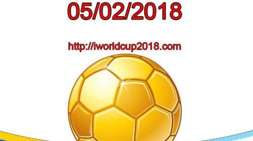Lịch thi đấu bóng đá hôm nay và ngày mai 5/2/2018